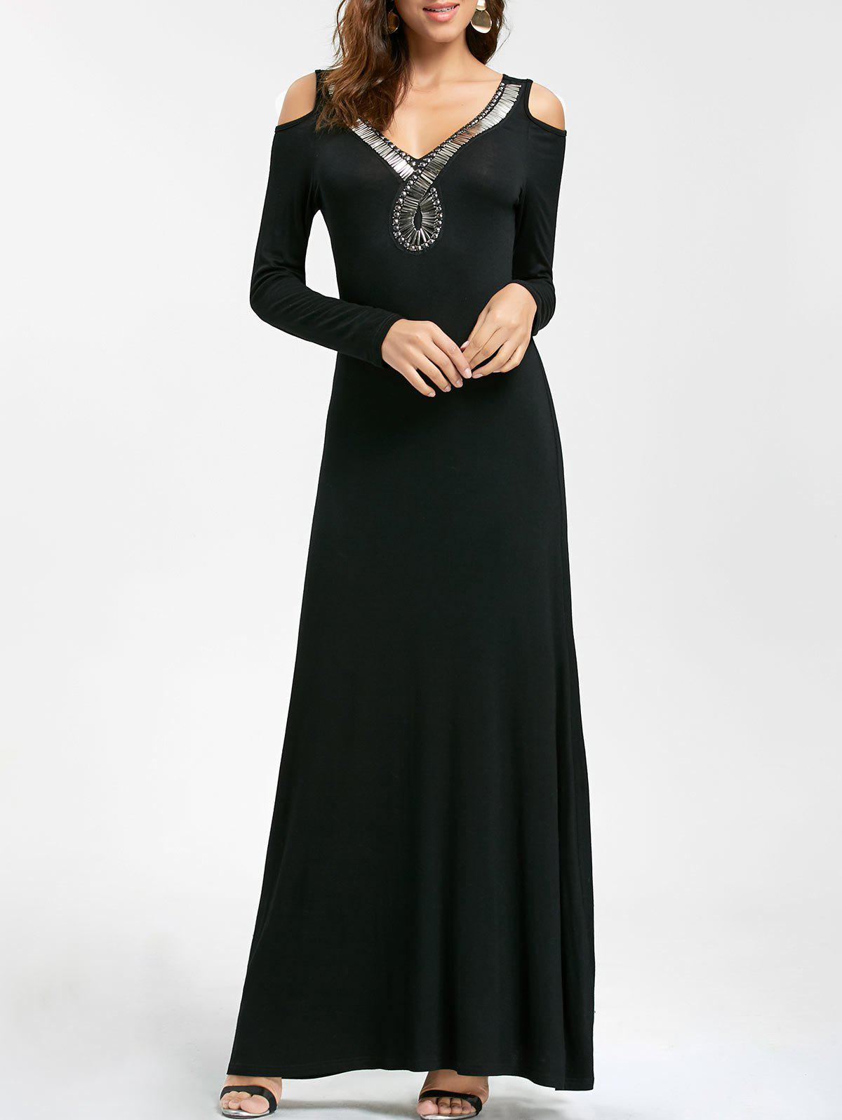 Discount Long Sleeve Cold Shoulder Engagement Party Dress