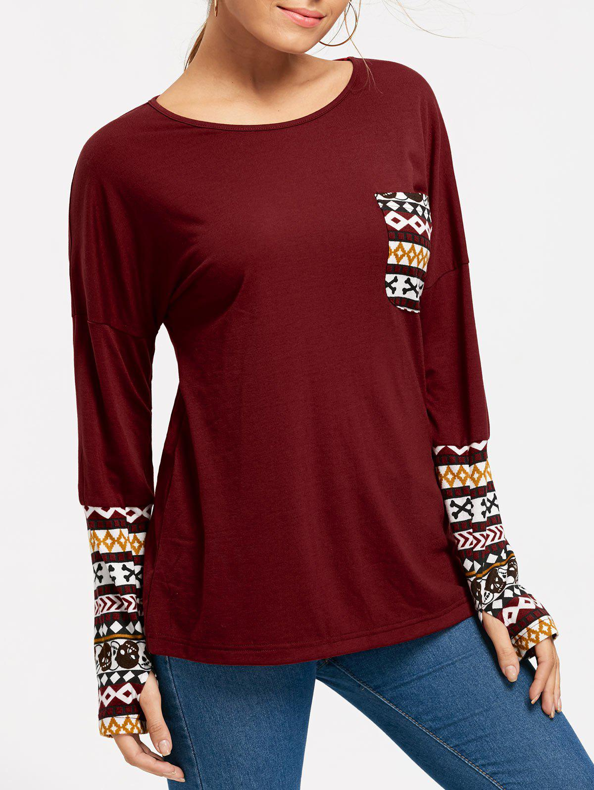 Halloween Skull Long Sleeve Pocket TopWOMEN<br><br>Size: 2XL; Color: DEEP RED; Material: Polyester,Spandex; Shirt Length: Regular; Sleeve Length: Full; Collar: Round Neck; Style: Casual; Pattern Type: Others; Season: Fall,Spring; Weight: 0.2830kg; Package Contents: 1 x Top;