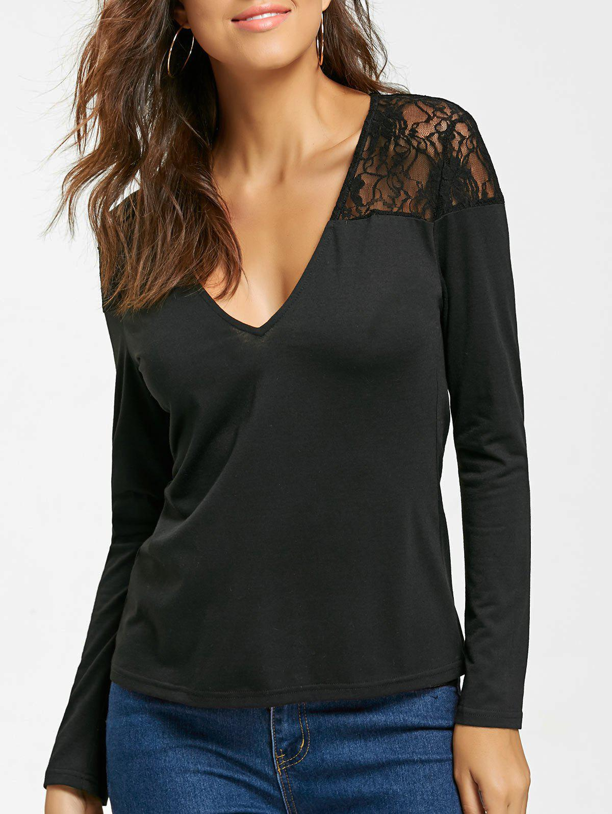 Long Sleeve Lace Panel Slim Fit TopWOMEN<br><br>Size: M; Color: BLACK; Material: Polyester,Spandex; Shirt Length: Regular; Sleeve Length: Full; Collar: V-Neck; Style: Fashion; Pattern Type: Solid; Season: Fall,Spring; Weight: 0.2250kg; Package Contents: 1 x Top;