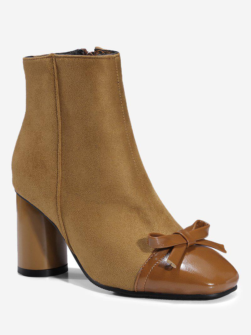 Shop Ankle Bowknot Chunky Heel Boots