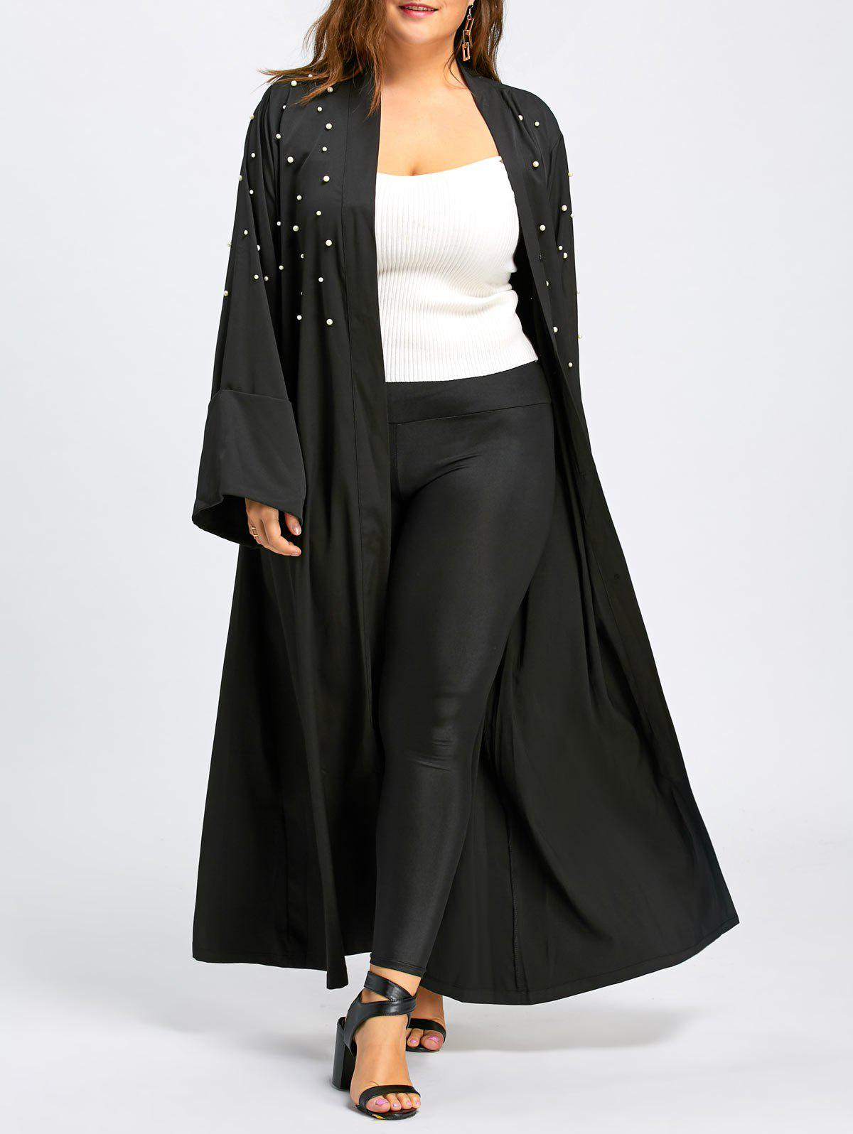 Beaded Plus Size Long Maxi CoatWOMEN<br><br>Size: 3XL; Color: BLACK; Clothes Type: Trench; Material: Polyester; Type: Slim; Shirt Length: Long; Sleeve Length: Full; Collar: Collarless; Pattern Type: Solid; Embellishment: Beading; Style: Casual; Season: Fall,Winter; Weight: 0.6100kg; Package Contents: 1 x Coat 1 x Belt;