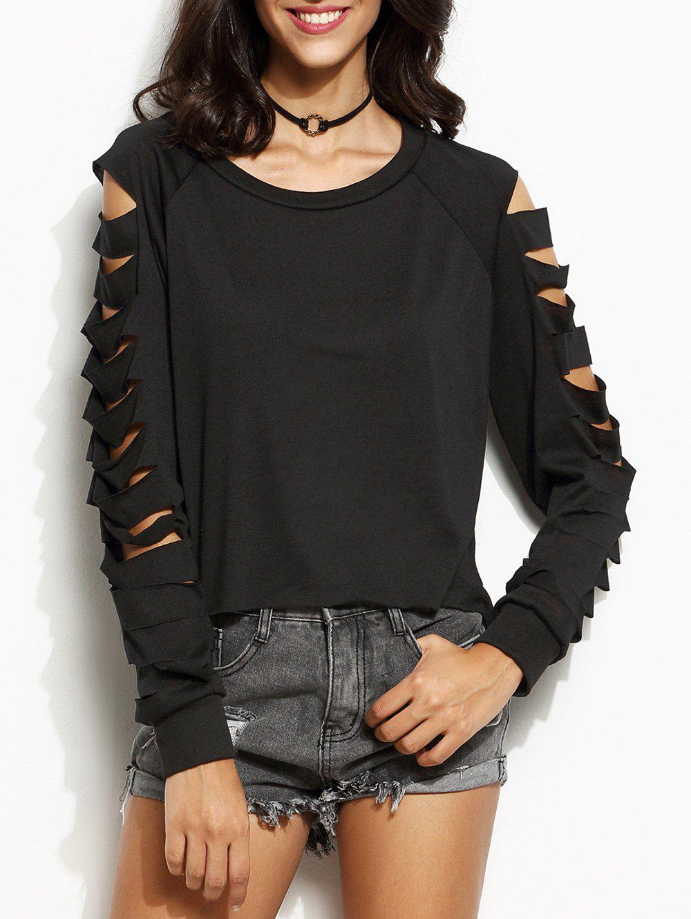 Fancy Ladder Cut Out Long Sleeve Tee