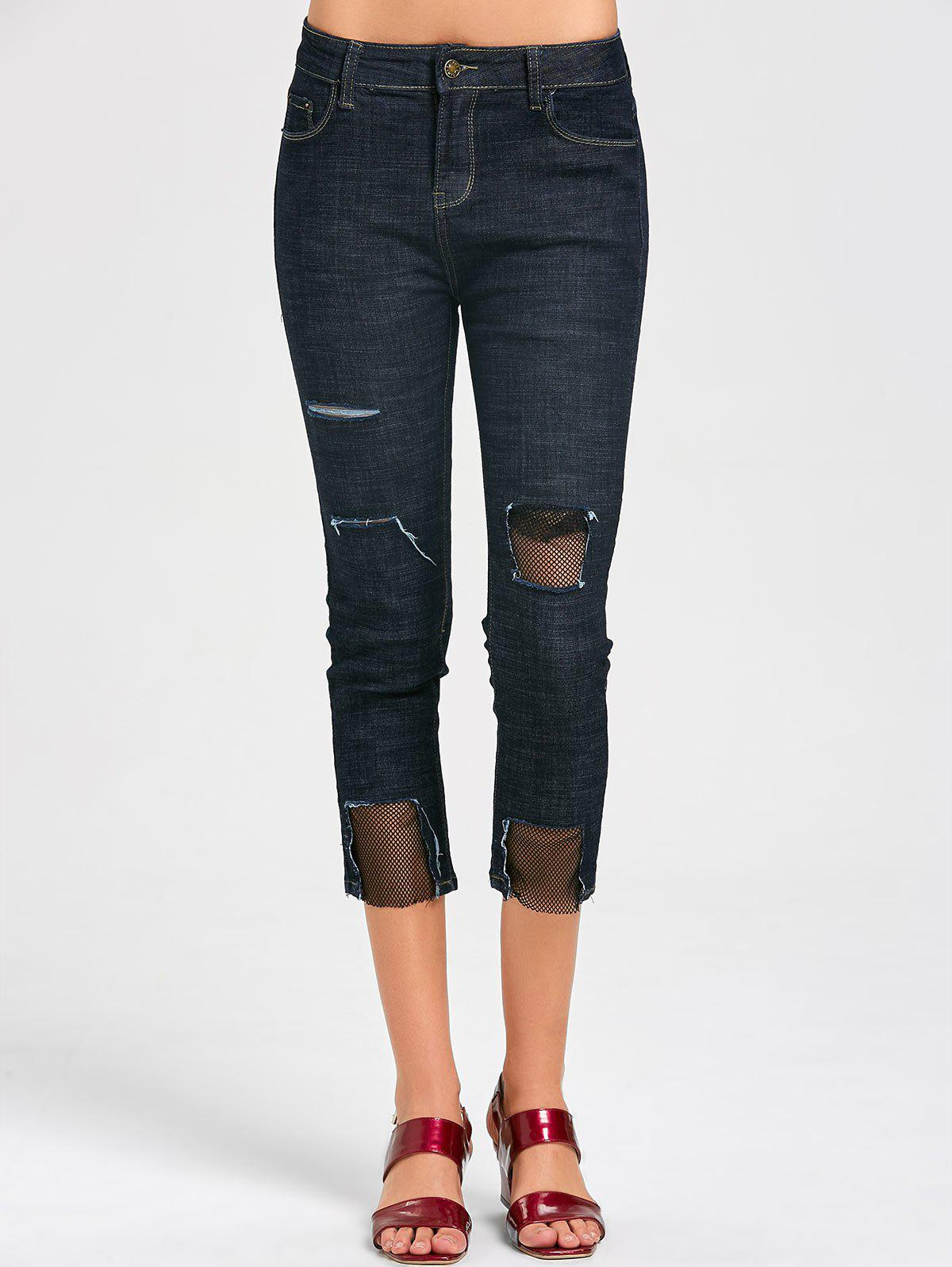 Trendy Holes Fishnet Panel Capri Jeans