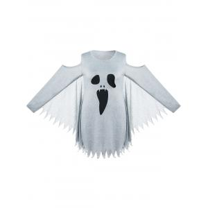 Halloween Plus Size Bat Wing Ghost Print Dress -