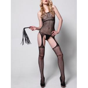 Striped Sheer Cut Out Bodystockings -