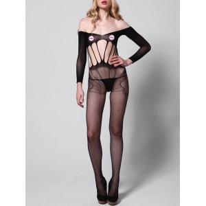 Off Shoulder Fishnet Sheer Bodystockings - BLACK ONE SIZE