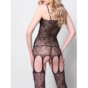 Fishnet Cut Out Slip Bodystockings - BLACK ONE SIZE