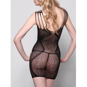 Bodycon Fishnet Sheer Slip Dress - BLACK ONE SIZE