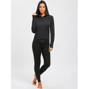 Sheer Breathable Sports Hooded T-shirt - BLACK M