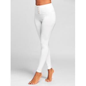 Sports  High Rise Criss Cross Leggings - WHITE L