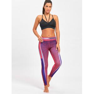 Colorful Striped Funky Gym Leggings - ROSE RED S