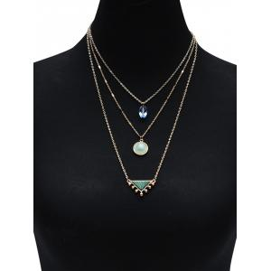 Modèle Illusion Triangle Embellished Three Layered Necklace -