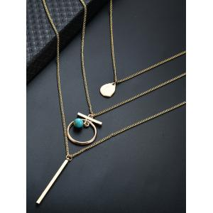 Pendentif à barres Embellished Three Layered Necklace -