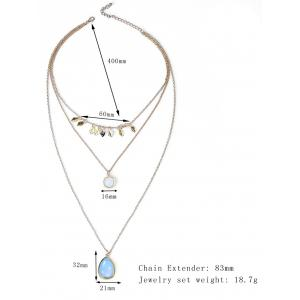 Waterdrop Leaf Pendant Three Layered Necklace -
