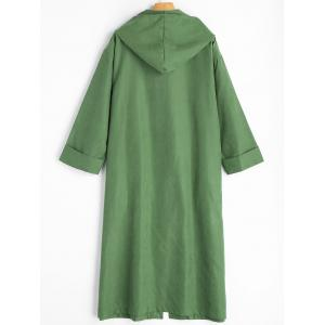 Button Up Plus Size Long Hooded Coat -