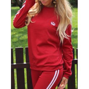 Striped Panel Sporty Sweat Suit - RED L