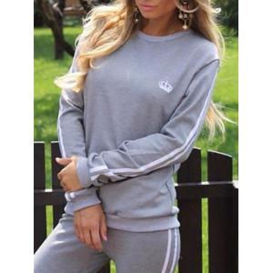 Striped Panel Sporty Sweat Suit - GRAY L
