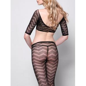 Fishnet Plunge Crop Top with Tights -