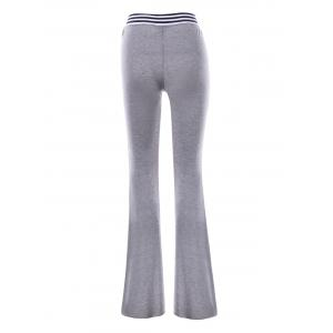 Striped Panel Maxi Flare Pants - GRAY XL