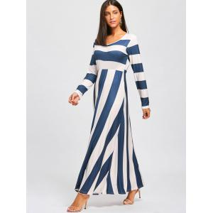 Long Sleeve Striped Floor Length Dress -