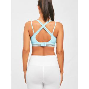 Criss Cross Straps Sports Padded Bra - WINDSOR BLUE S