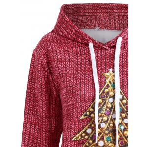 Christmas Tree Rhinestone Kangaroo Pocket Hoodie -