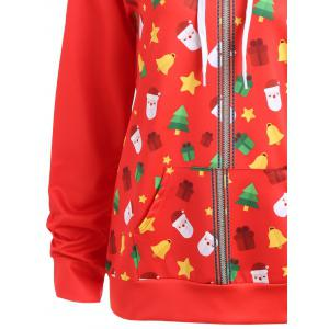 Zip Up Christmas Tree Bells Santa Claus Hoodie -