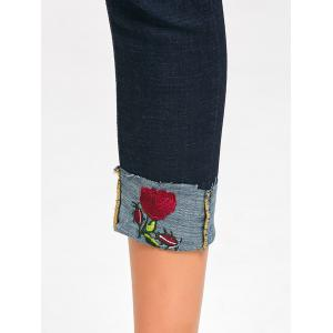 Rose Embroidery Ripped Capri Jeans -