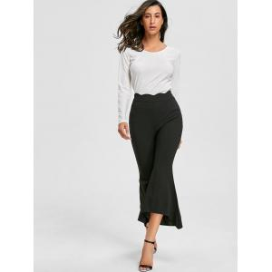 Ninth High Waisted Bell Bottom Pants - BLACK L