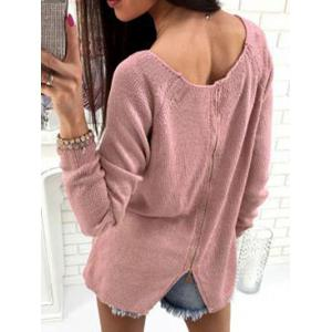 Back Slit Knitted Sweater -
