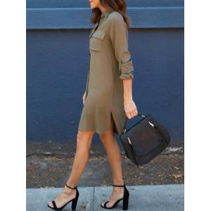 Front Pockets Side Slit Shirt Dress - ARMY GREEN S
