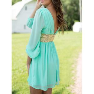 Chiffon Surplice Dress with Sequin - TURQUOISE M
