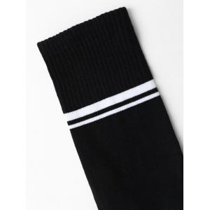 Crew Socks with Graphic Print - BLACK ONE SIZE