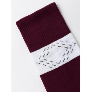 Color Block Graphic Christmas Socks -