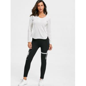 Graphic Skinny High Waisted Leggings - WHITE AND BLACK M