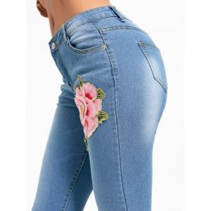 Flower Embroidery Distressed Denim Cuffed Jeans -