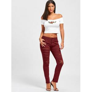 Distressed High Rise Colored Skinny Jeans - RED S