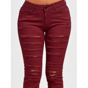 Distressed High Rise Colored Skinny Jeans - RED M