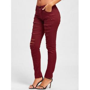 Distressed High Rise Colored Skinny Jeans - RED XL