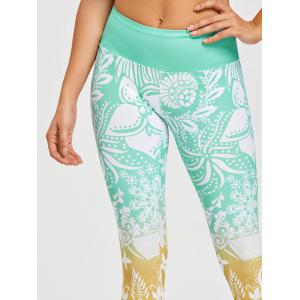 Floral Print High Waisted Gym Leggings - GREEN 2XL