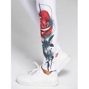 3D Rose Print Skinny High Waist Leggings - WHITE 2XL