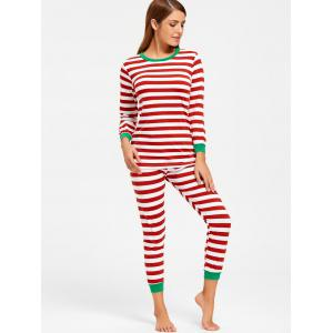 Striped T Shirt with Pants Christmas Pajama Set - COLORMIX M