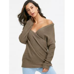 Knit Off Shoulder Surplice Sweater -