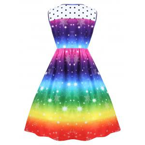 Plus Size Christmas Snowflake Rainbow Color Vintage Dress -