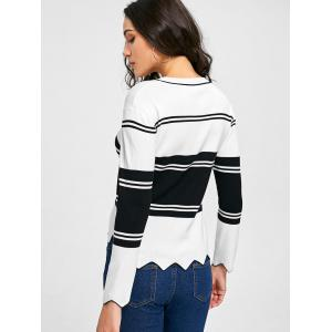 Drop Shoulder Asymmetric Trim Sweater - WHITE AND BLACK L