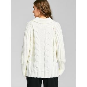 Turtleneck Cable Knit Chunky Sweater - WHITE ONE SIZE