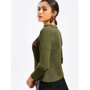 Choker Rose Embroidered Zippered Sleeve Sweater -