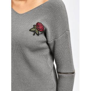 Choker Rose Embroidered Zippered Sleeve Sweater - GRAY ONE SIZE