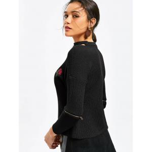 Choker Rose Embroidered Zippered Sleeve Sweater - BLACK ONE SIZE