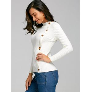 Side Button Up Knit Ribbed Sweater - WHITE ONE SIZE